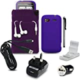HTC SENSATION XE 9 PC LUXURY GIFT ACCESSORY PACK - PURPLE SILICONE SKIN CASE / COVER / GEL + SCREEN PROTECTOR + POUCH + HEADSET + USB MINI CAR CHARGER + USB MAINS CHARGER + MICRO USB CABLE + STYLUS + DESK STAND PART OF THE QUBITS ACCESSORIES RANGEby Qubits