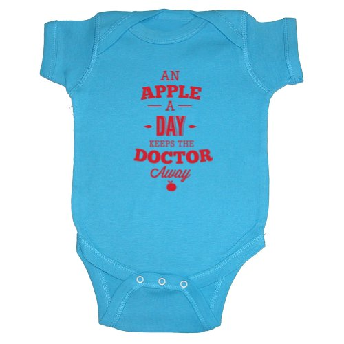 Sticky Bananas Baby Boys' An Apple A Day Keeps The Doctor Away Bodysuit 6 M Turquoise front-738441