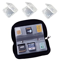 Micro-Tech® Memory Card Carrying Case - Black + 3 FREE Clear cases