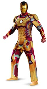 Disguise Marvel Iron Man 3 Mark 42 Deluxe Mens Adult Costume, Gold/Red, X-Large/42-46