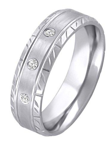 Brushed Diamond Cut Sterling Silver & Diamond Wedding Band - Size 13.5