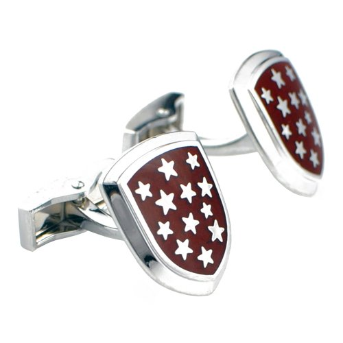 Red Shield With Silver Star Cufflinks