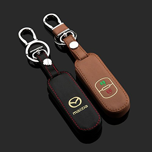 Amooca 2-buttons Leather Luminous Car Smart Remote Key Fob Holder Case Cover Fit For Mazda Axela CX-5 Black 1PCS (Mazda Key Holder compare prices)