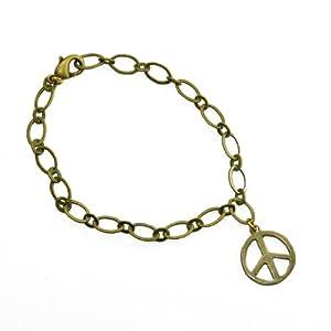 Small Peace Symbol Peace Bronze Link Bracelet