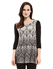 M&S Collection Lace Print Trapeze Tunic