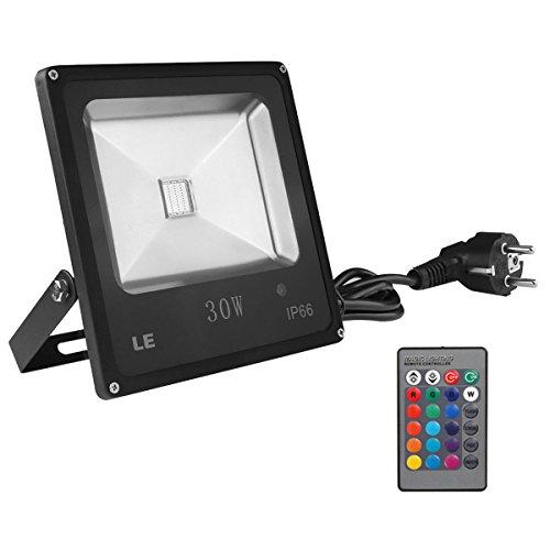 LE-30W-RGB-Fluter-Mit-Fernbedienung-LED-Flutlicht-Farbwechselhafte-LED-Sicherheitsleuchte-16-Farbe-und-4-Beleuchtungsprogramme-Wasserdicht-Europischer-Stecker-LED-Flutlichtstrahler-LED-Strahler-LED-Sc