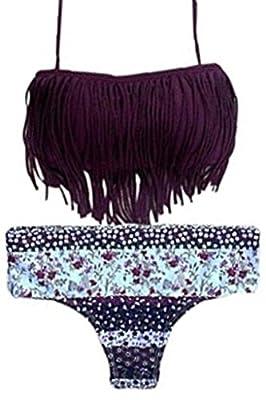 HOTAPEI Women Halter Fringed Floral Printed Bikini Swimsuit(FBA OPTIONAL)