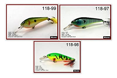 Akuna 3fla118 Hand Painted Holographic Bass Pike Trout Fishing Lure Pack Of 3 by Akuna