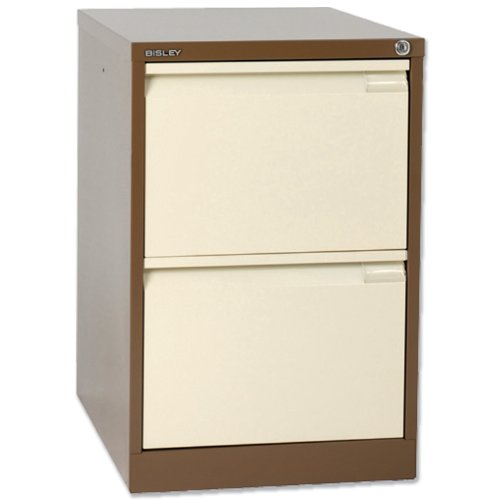 Bisley BS2E Filing Cabinet Flush-front 2-Drawer W470xD622xH711mm Brown and Cream Ref BS2E-0506
