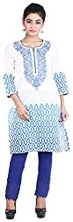 Geroo Women's Cotton Regular Fit Kurta (MKK-15114AZ, White and Blue, XL)