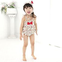 Vivo-biniya Baby Girl\'s 2pcs/swimsuits One-piece Swimwear and Cap Flower 4-9t (8-9T)