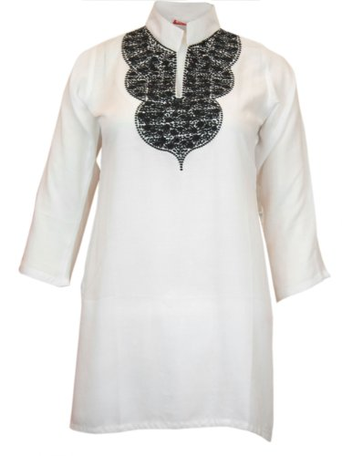 Ladies Indian Embroidered Long Sleeve Kurta-Kurti Tops White KL329507-FREE SHIPPING