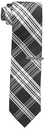 Nick Graham Men\'s Plaid Tie, Black, One Size