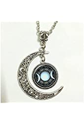 Moon Necklace Glass Art Picture Triple Goddess Pendant, Wiccan Jewelry, Moon Goddess Jewelry, Wiccan Necklace Charm