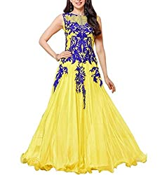 Akantik's Women's Faux Georgette Unstitched Anarkali Dress Material (GEMS-MASTI-PFPL_Yellow_Free Size)