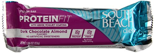 South Beach Diet Protein Fit Bars, with Greek Yogurt Coating, Dark Chocolate Almond, 1.86 Ounce, 5 Count (Pack of 40)