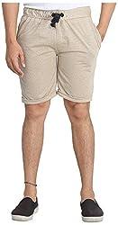 Broche Men's Cotton Shorts (Broche9011-M, Beige, Medium)