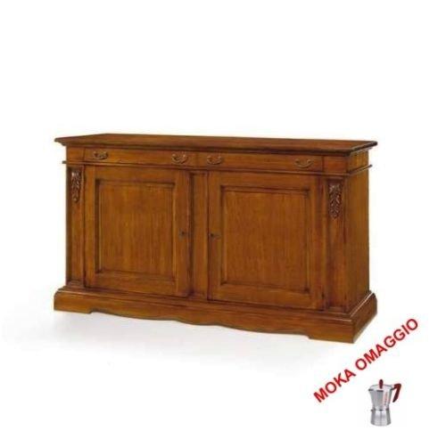 CLASSICO Credenza mobile con 2 ante 2 cassetti in legno massello color noce 483 220x60x115