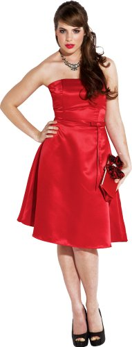 50s Strapless Satin Bridesmaid Bridesmaid Dress Homecoming, XS, Red