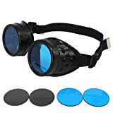 HAMIST Steampunk Goggles Victorian Vintage Glasses Cospaly Decoration Punk Style Protective Welding Cyber Goggles With DIY Lenses (Black Frame)