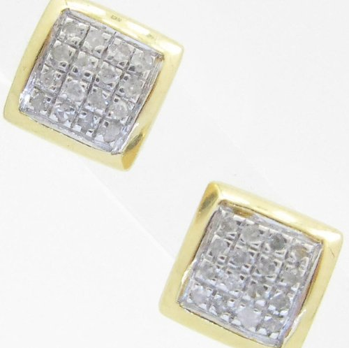 Mens 925 Sterling Silver earrings fancy stud hoops huggie ball fashion dangle white small square pave earrings3