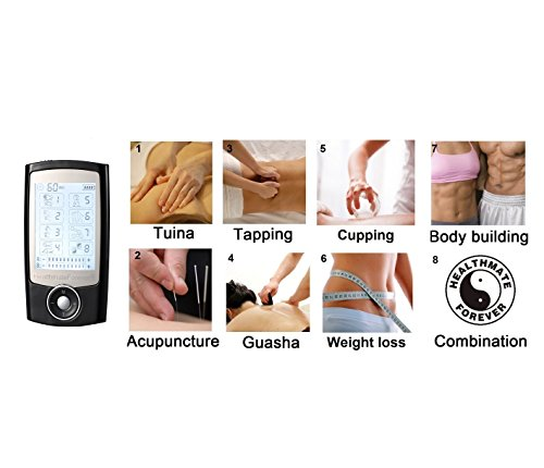 Fda Cleared Healthmateforever Pro-8Ab 8 Modes Pain Relief Electrotherapy Device, Muscular Therapy Device, Full Body Electronic Pulse Massager Pro8Ab, Lifetime Warranty Black Color