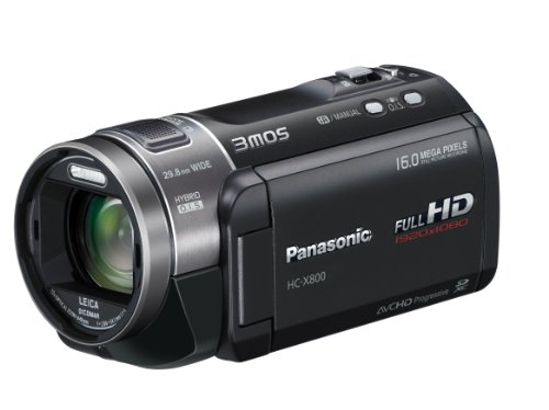 Panasonic X800 Full HD 1920 x 1080p (50p) 3D Ready Camcorder - Black (3MOS Sensor, 23x Intelligent Zoom, SD Card Recording, Leica Dicomar Lens, and Manual Control Ring) 3.0 inch LCD