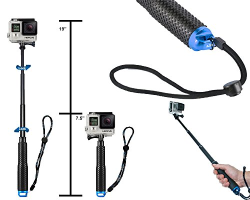 ADIKA Aluminum Telescoping Selfie Stick for GoPro Hero Series for Gopro Extension Pole (19cm to 49cm) Monopod Self Stick for Gopro - Blue (Go Pro Hero 4 White Accesories compare prices)