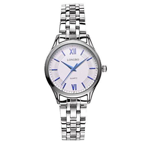 LONGBO Womens Classic Stainless Steel Band Business Watches Waterproof Simple Analog Quartz Wristwatch Roman Numral Blue Hands White Dial Couple Dress Watch For Lady (Red Line Orange Dial Watch compare prices)