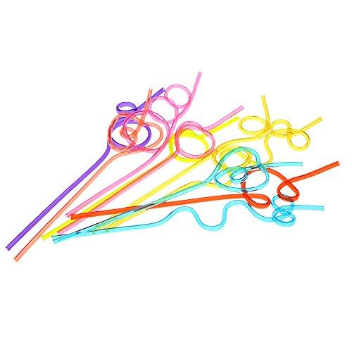 Anself 10pcs/sacco colorato paglia pazzo ricci Loop color bere cannucce per festa di compleanno