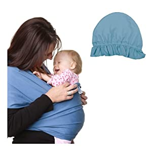 Moby Wrap Original 100% Cotton Solid Baby Carrier with Baby Bonnet Hat - Indigo