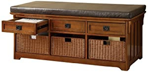 Furniture Of America Victoria 60 Inch Wide Storage Entryway Bench With Baskets