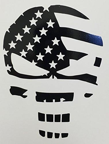CMI280 Skull Punisher Flag Decal Sticker | Black Vinyl (Punisher Truck Window Decal compare prices)