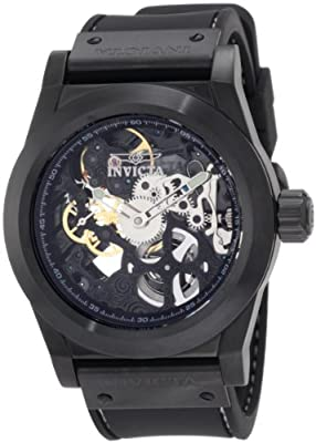 Invicta Men's 1086 Specialty Sea Ghost Mechanical Skeletonized Dial Black Polyurethane Watch