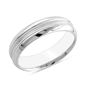 6mm Comfort-Fit Milgrain Wedding Band Ring SIZE-10