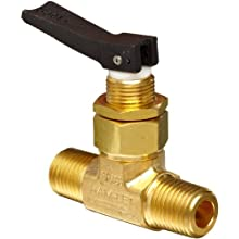 "Ham-Let H1200 Series Brass Toggle Valve, Inline, 1/4"" NPT Male"
