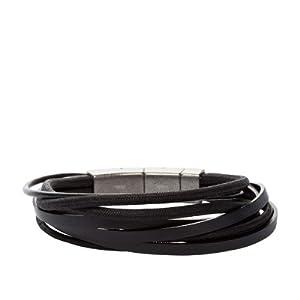 Fossil Herren-Armband Leder Textil Edelstahl schwarz 20-22 cm JF86182040