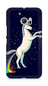 Amez designer printed 3d premium high quality back case cover for Htc One M10 (Unicorn Shitting Rainbows)