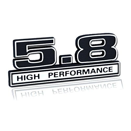 Black & Chrome 5.8 High Performance Engine Emblem Logo - 5