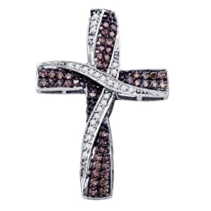 Click to buy Chocolate Diamonds: 10K White Gold Pave Set White and Chocolate Brown Fancy Cross Charm Pendant from Amazon!