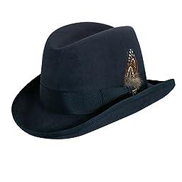 Stacy Adams Men\'s Wool Homburg Comfort Hat L Navy