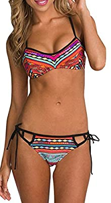 Yonala Womens Printed Push up Padded Bra Halter Raceback Beach Swimsuit Beachwear