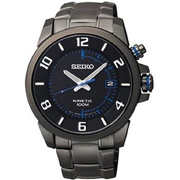 Seiko, Kinetic, Men's Watch, Stainless Steel Black Ion Plated Case, Black Stainless Steel Ion Plated Bracelet, Kinetic Powered/Autoquartz, SKA555
