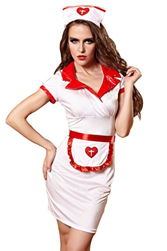 F&C Halloween Costume Sexy Women's Swimsuit Cloth Head Nurse Cosplay