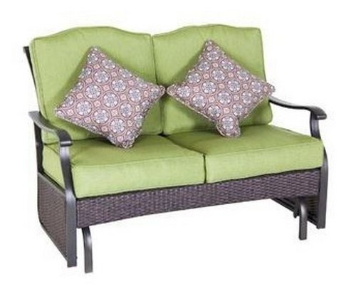 Outdoor Glider Bench, Green, Seats 2. These Wicker Benches Have Stylish Thick Cushions with Pillows. Amazing. Enhance Your Patio Furniture, Deck, Porch or Gazebo with Comfortable Deep Seating. UV Upholstery Works Great As a Loveseat in Your Sunroom. picture