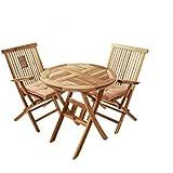 Balkongruppe Teak 3tlg Romana, Lager, Tisch 70 x 70 cm, zwei Klappstühle mit Armlehne, Lieferung mit Paketdienst...