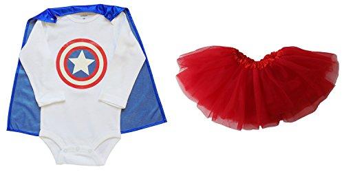 [So Sydney Baby, Infant Girl Superhero Onesie with Detachable Cape & Tutu Skirt (S (0-6 Months), Captain America - Blue &] (Baby Girl Marvel Costumes)