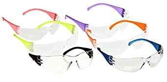 Adult Safety Glasses Intruder Multi Color Clear Lens (Pack of 12)