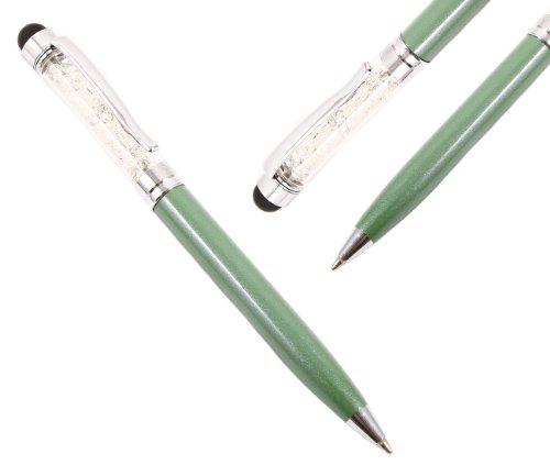 iTALKonline MINI GLANZ BLING Grün IDUO Captive Touch-Tip Stylus Pen mit Gummi-Spitze mit Roller Ball Pen Für Samsung Galaxy Tab 2 7.0 P3110