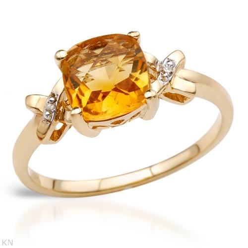 Yellow Gold 1.64 CTW Citrine and 0.01 CTW Accent Diamond Ladies Ring. Ring Size 7. Total Item weight 2.0 g.